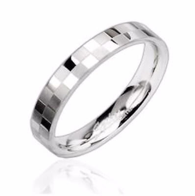 4mm Stainless Steel Checkerboard Pattern Polished Wedding Band Ring