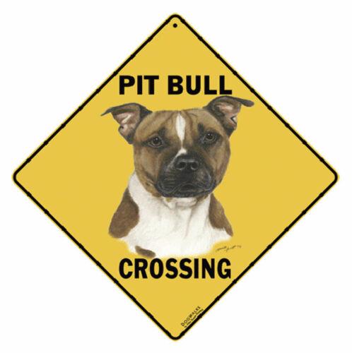 "NEW & SEALED Pit Bull Crossing Xing Sign Aluminum Metal 12"" x 12"" Indoor Outdoor"