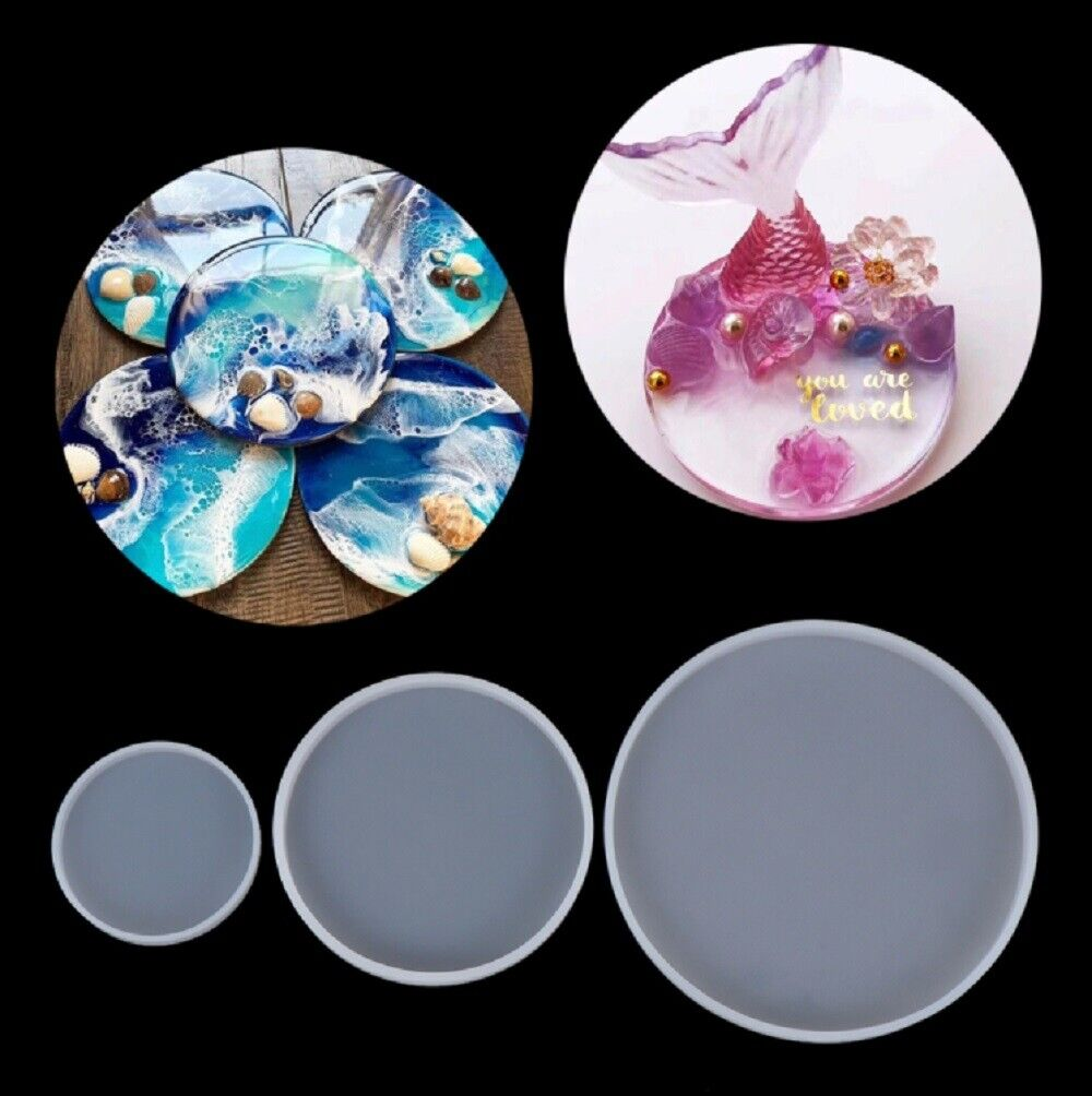 1 Pcs DIY Silicone Epoxy Resin Coasting Round Coaster Mold Jewelry Making Mould Crafting Pieces