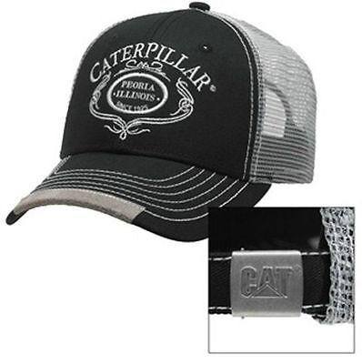 CAT CATERPILLAR *BLACK & SILVER Mesh SCRIPT* TRADEMARK LOGO HAT CAP * NEW* CA17