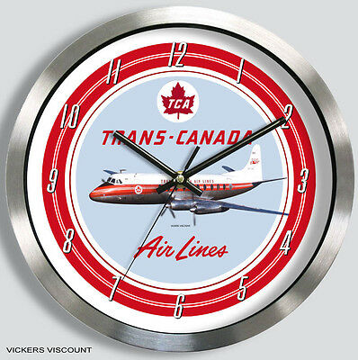 Trans Canada Airlines Vickers Viscount Wall Clock Metal Tca 1950S 1960S