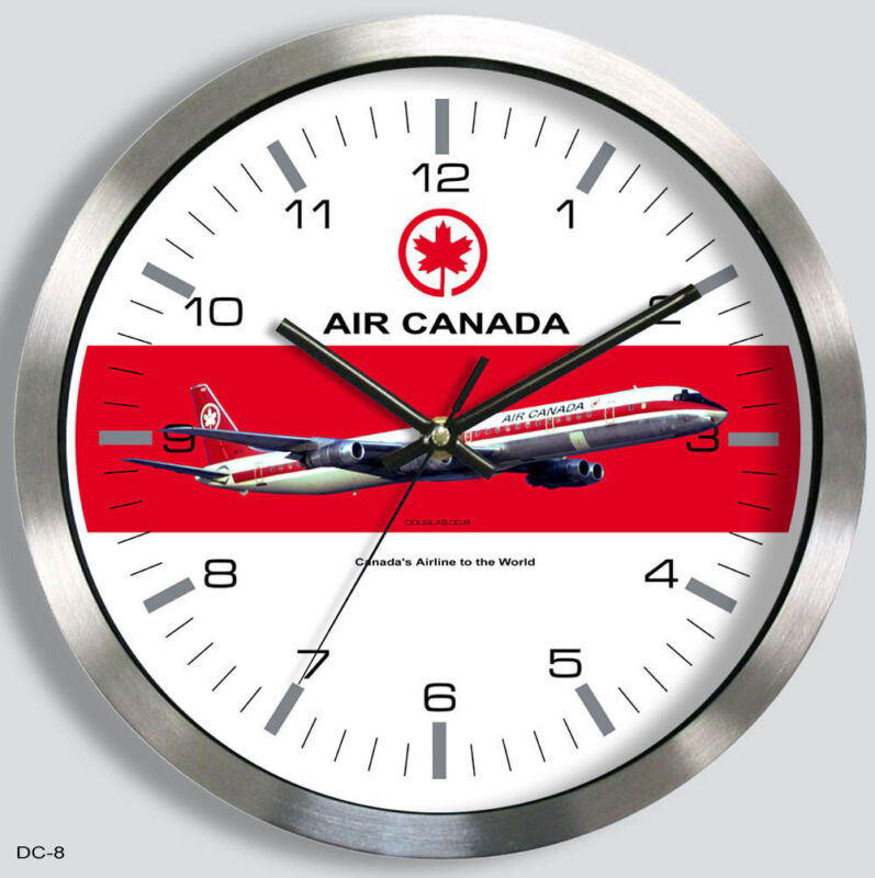 AIR CANADA DOUGLAS DC-8 WALL CLOCK METAL