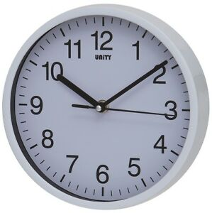 SILENT SWEEP WALL CLOCK BY UNITY RADCLIFFE CLOCK IN WHITE 8