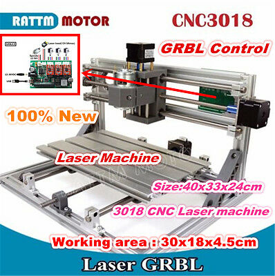 New 3 Axis 3018 Desktop Mini Diy Cnc Router Kit Engraving Milling Laser Machine