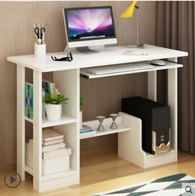 Computer Desk with Bookshelf Storage White Table Home Office Study Workstation