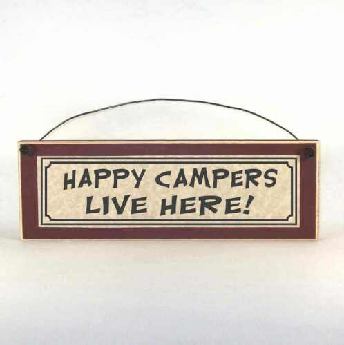 HAPPY CAMPERS LIVE HERE! Sign Plaque RV Camp Campsite Decorations Camping Decor
