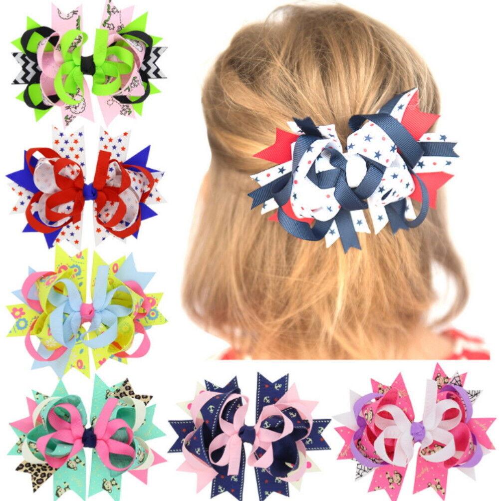 6 Pcs Girl Christmas Holiday Gift Snowflake Ribbon Hair Bows Clip Girl Hairpin Baby