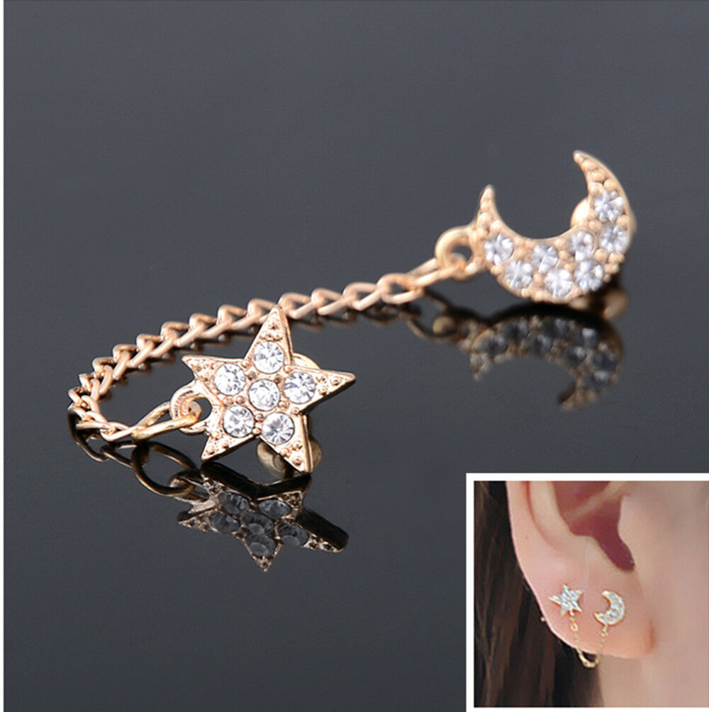 Details About Retro Two Piercing Earring Ear Cuff Chain Clip Double Earrings Fashion