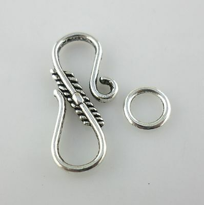 12pcs Antique Silver S - Hook Clasps Interface Toggle Connectors for Jewelry    - Toggle Clasp