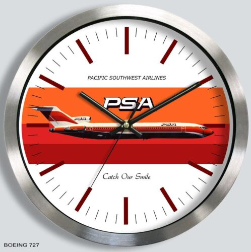 PSA AIRLINES BOEING 727 WALL CLOCK METAL 1970s pacific southwest