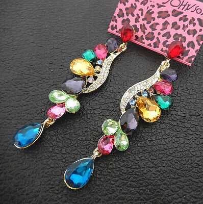 Women's Multi-Color Crystal Rhinestone Flower Betsey Johnson Drop Earrings Multi Color Rhinestone Earrings