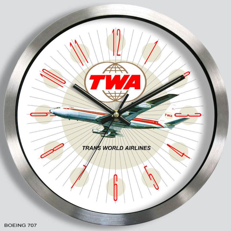 TWA TRANS-WORLD AIRLINES BOEING 707 WALL CLOCK METAL 1960s