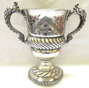 Antique Marked MERIDEN Silverplate 1462 Engraved Flower Handled Trophy Cup