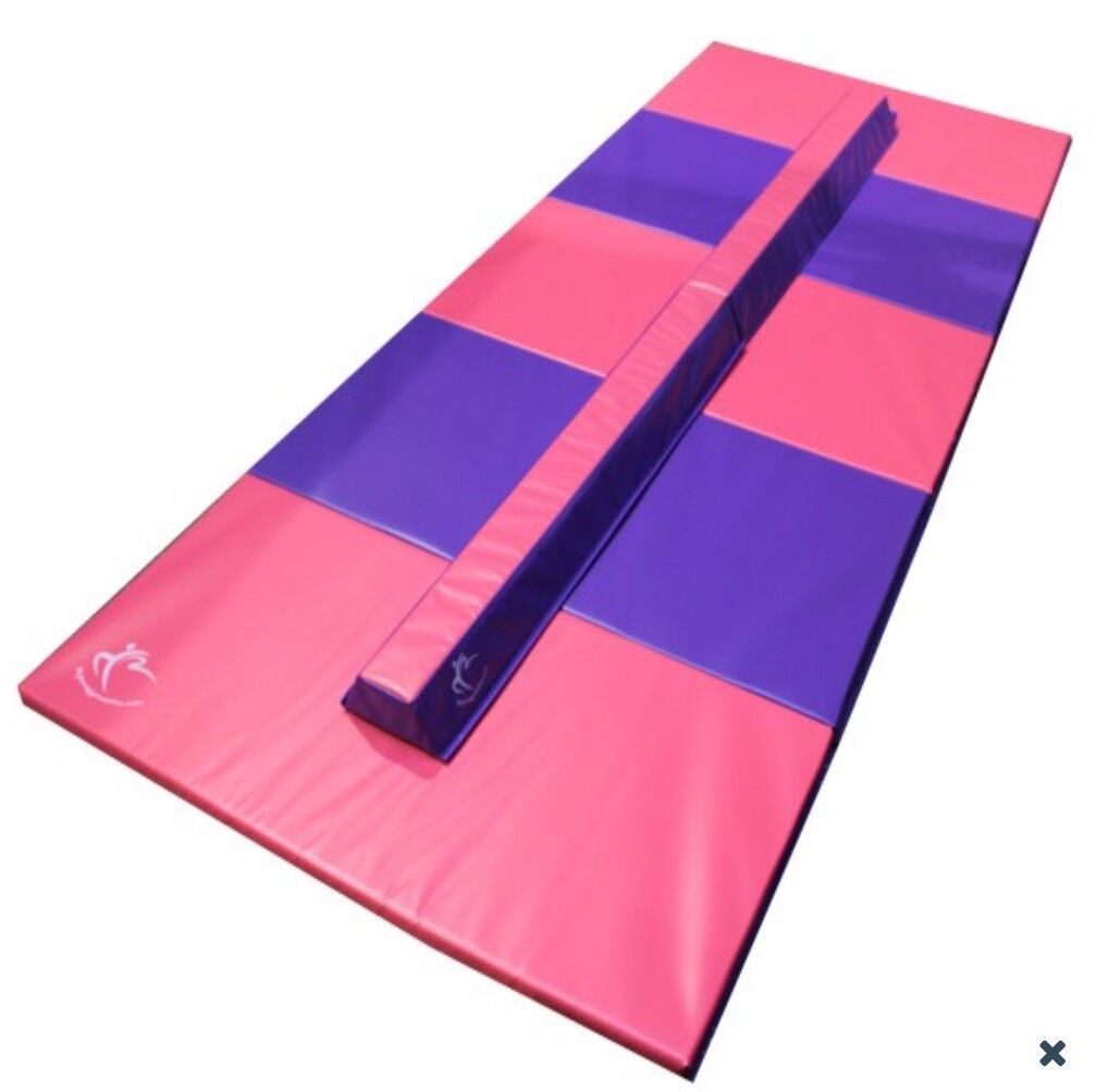 MY HOME GYMNASTICS PINK AND PURPLE FOLDING MAT AND BEAM