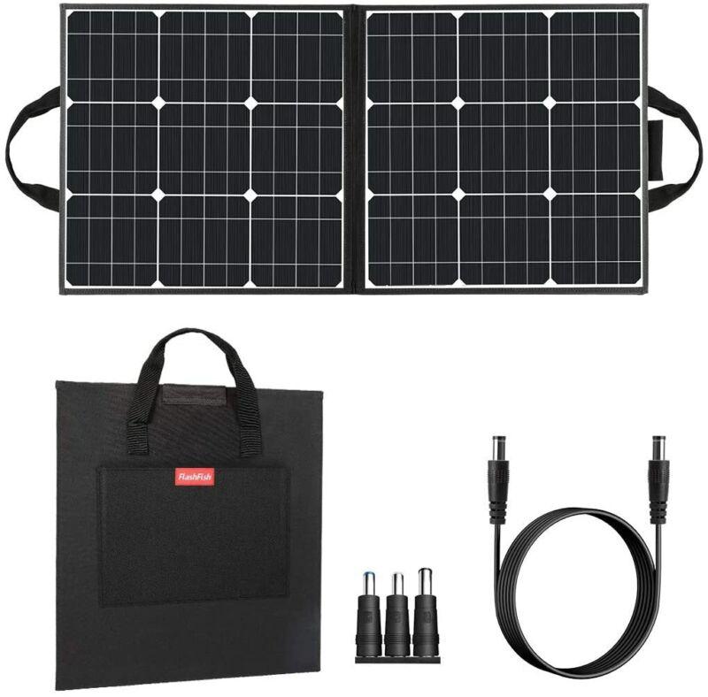 50W 18V Portable Solar Panel, Flashfish Foldable Solar Charger with 5V USB 18V D