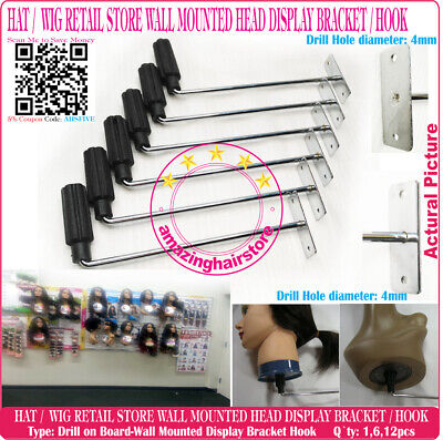 Retail Store Display Hook Hat Wig Styrofoam Head Holder Fixture Drill On Board