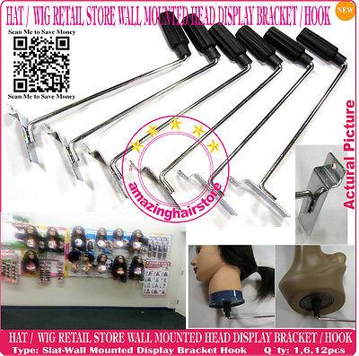 Retail Store Display Rack Hat Wig Styrofoam Head Holder Fixture Slat Wall Mount