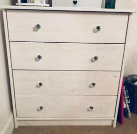 Shabby Chic White I'm Annie Sloan Painted Pine 4 Drawer Chest of Drawers.