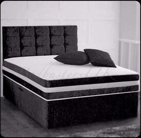 """❤SAME DAY FREE DELIVERY❤CRUSHED VELVET BED W/ 12"""" THICK SUPER ORTHOPEDIC MATTRESS SINGLE DOUBLE KING"""