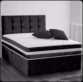 same day delivery top quality double crush velvet divan bed in black + mattress upgrade options