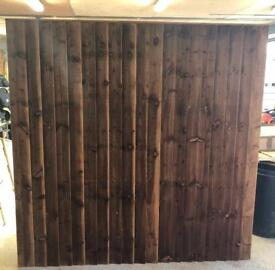 🌩Brown Feather Edge Straight Top Fence Panels