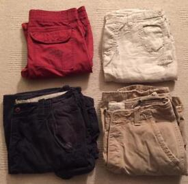 4 pairs of men's shorts. All worn once. Hollister, Abercrombie & Fitch, Firetrap, Timezone. W32-34