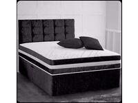 "Crushed Velvet Divan Bed inc 10"" Sprung Dual Turn Memory Foam Mattress & Matching Vintage Headboard"