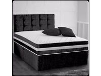 BRAND New Crushed Velvet Fabric Divan Bed Base With Semi Orthopedic Mattress