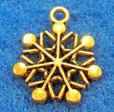 20Pcs. Tibetan Antique Gold SNOWFLAKE Charms Earring Drops Jewelry Findings CH34 Antique Gold Snowflake