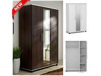 Lux 3 door wardrobe in wenge white Center Mirror cupboard cabinet