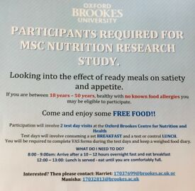 Appetite Study MSc Research Project at Oxford Brookes.