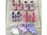 Baby girls shoes and socks age 3-6 months