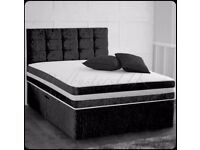 KING SIZE BLACK CRUSH VELVET BED + MEMORY FOAM MATTRESS HEADBOARD AND TWO STORAGE DRAWERS
