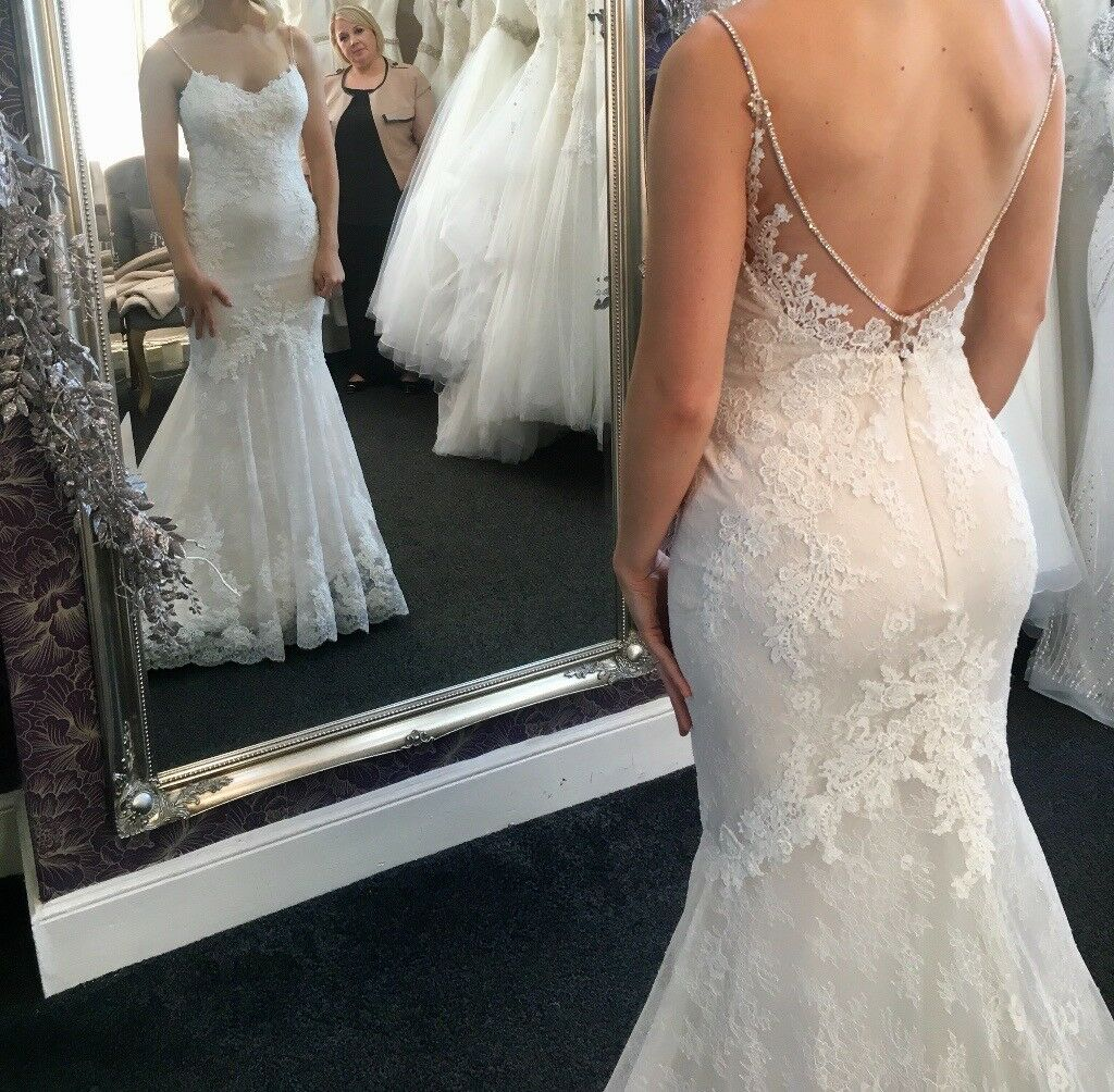 Enzoani Blue January Backless Lace Mermaid Trumpet Wedding Bride Dress Journey Lexi