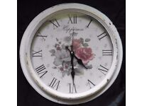 """Clayre & Eef – 15.3"""" Battery operated Wall clock – Happiness- New unused item"""