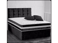 Quality Furniture Brand New Double & King Size Crushed Velvet Divan Bed Base With Opt Mattress-
