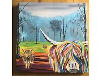 Steven Brown Art Mary Mccoo and her Weans Canvas BRAND NEW