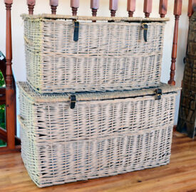 2 Big Grey Washed Wicker Storage Chests