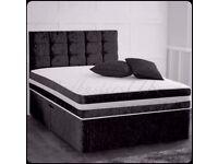 CRUSHED VELVET DIVAN BED + DUAL TURN SPRUNG MEMORY FOAM MATTRESS + EXTRA PADDED YORK HEADBOARD