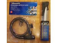 New Armoured Bike Lock Chain & Aluminium Air Pump - Bicycle