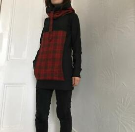 Handmade unique jumper with big hoodie