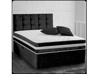 🔮Furniture Sale🔮-Double & King Size Crushed Velvet Divan Bed Base W Opt Mattress-🔮🔮