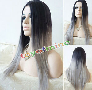 Women Sexy Long Straight Wig Hair Heat Resistant Black And Grey Ombre Wigs