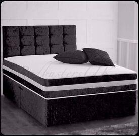 Brand New 4ft6 Double/5ft King size Crush Velvet Divan Bed Bases with Mattress Option - Black Silver