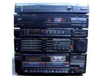 Hitachi Midi Hi-Fi with Turntable, CD Player, Radio Tuner & Twin Cassette Player.