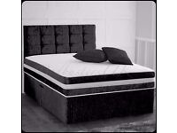 """❤BLACK CHAMPAGNE & SILVER❤ NEW 4FT6 OR 4FT DOUBLE CRUSHED VELVET DIVAN BED w 9"""" DEEP QUILT MATTRESS"""