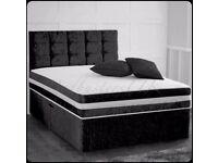 EXPRESS DELIVERY-Single-Double-King Size Crush Velvet Divan Bed Base-opt mattress-headboard