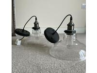 Glass light fittings with bulbs (industrial look retro)