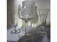 Vintage assorted stemmed glasses x 4. Excellent condition. £2 the lot.