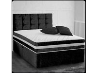 Furniture Sale-Double & King Size Crushed Velvet Divan Bed Base W Opt Mattress-chest of drawers
